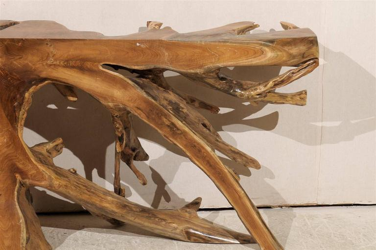 Natural Teak Root Wooden Console Table 4