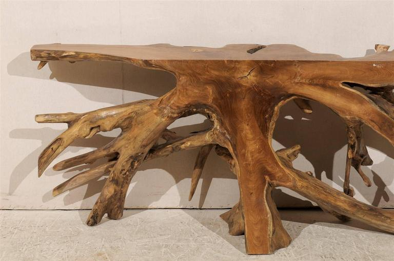 Natural Teak Root Wooden Console Table 5