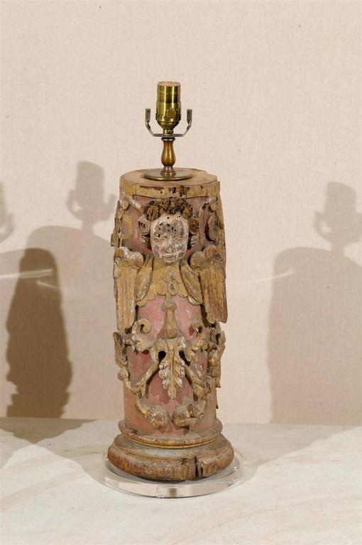 Pair of Portuguese 18th Century Painted Wood Table Lamps with Angel Depiction In Good Condition For Sale In Atlanta, GA