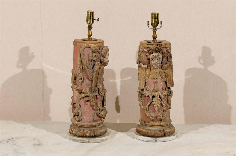 18th Century and Earlier Pair of Portuguese 18th Century Painted Wood Table Lamps with Angel Depiction For Sale