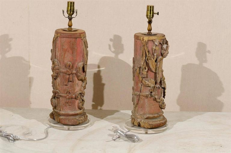 Lucite Pair of Portuguese 18th Century Painted Wood Table Lamps with Angel Depiction For Sale