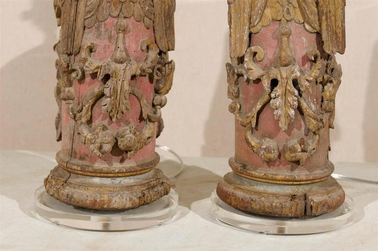 Pair of Portuguese 18th Century Painted Wood Table Lamps with Angel Depiction For Sale 3
