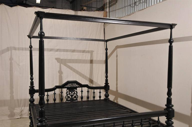 Antique black four post canopy style bed at 1stdibs - King size bedroom sets in atlanta ga ...