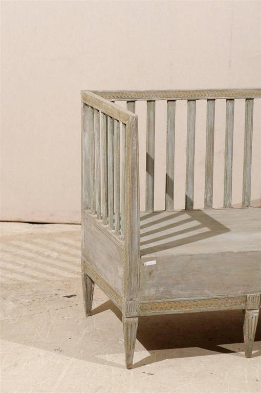 Swedish Period Gustavian Painted Wood Bench from the Late 18th Century For Sale 3