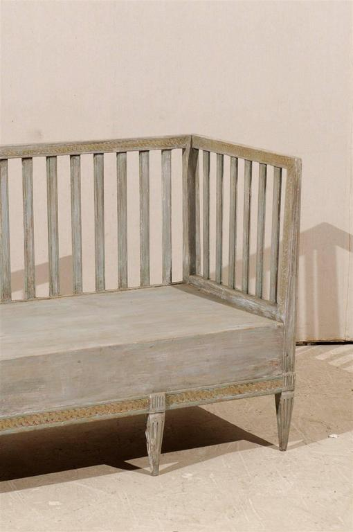Swedish Period Gustavian Painted Wood Bench from the Late 18th Century For Sale 4