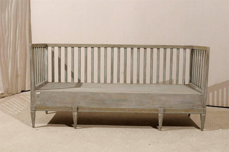 Swedish Period Gustavian Painted Wood Bench from the Late 18th Century For Sale 1