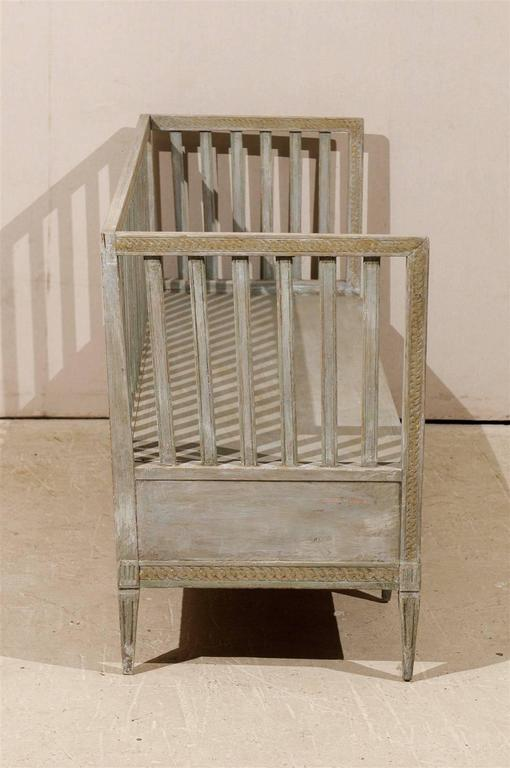 Swedish Period Gustavian Painted Wood Bench from the Late 18th Century For Sale 5