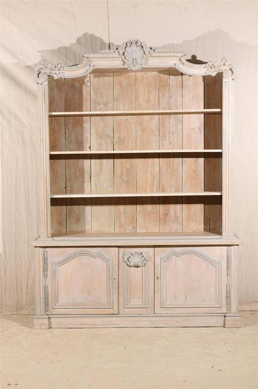 French Cabinet/Bookcase of Painted Wood with Richly Carved ...