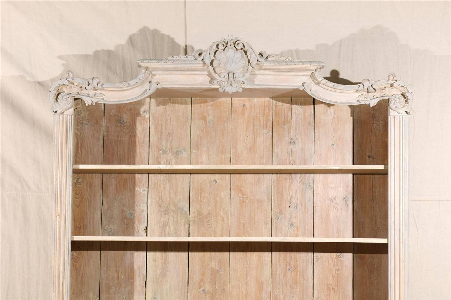 French Cabinet/Bookcase Of Painted Wood With Richly Carved Pediment . Full resolution‎  picture, nominally Width 1500 Height 997 pixels, picture with #452913.