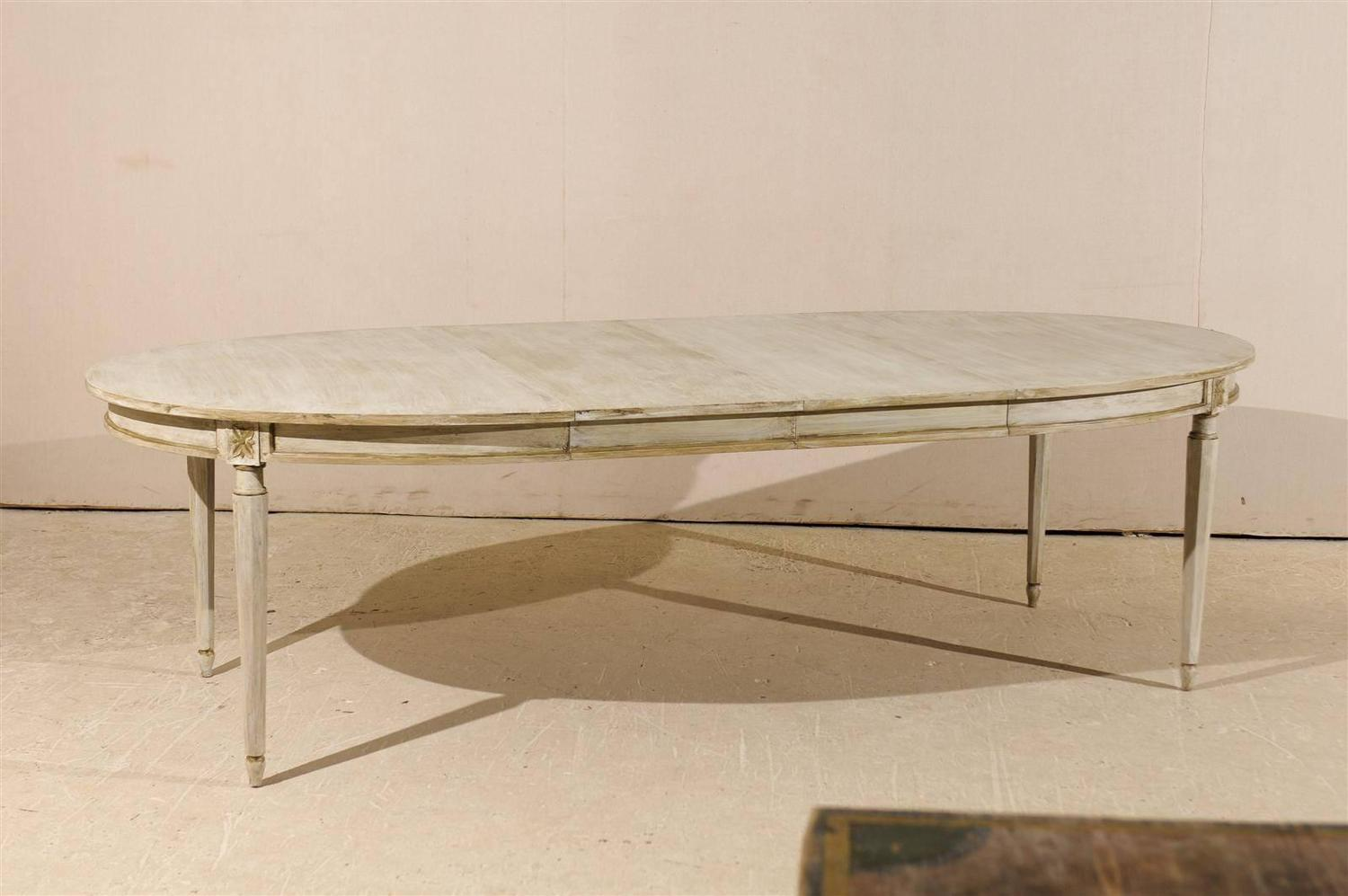 American Oval Painted Wood Dining Table With Leaves At 1stdibs