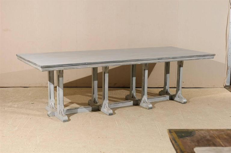 Large European Grey Painted Wood Rectangular Dining Table For Sale 2