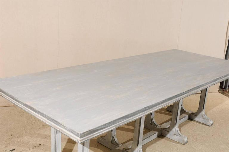 20th Century Large European Grey Painted Wood Rectangular Dining Table For Sale