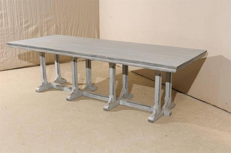 Large European Grey Painted Wood Rectangular Dining Table For Sale 3
