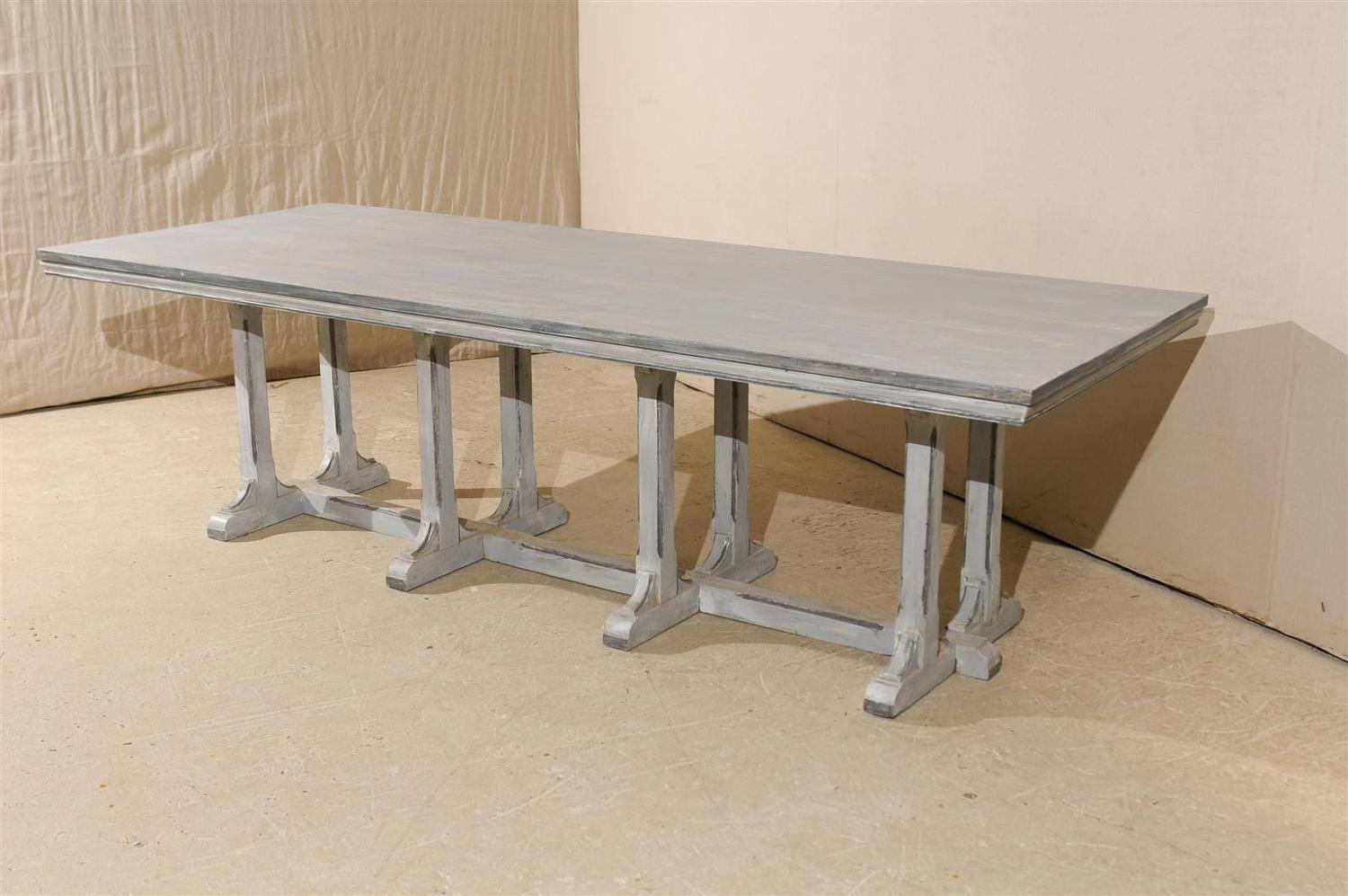 Large European Grey Painted Wood Rectangular Dining Table For Sale At . Full resolution  pic, nominally Width 1500 Height 997 pixels, pic with #634C31.