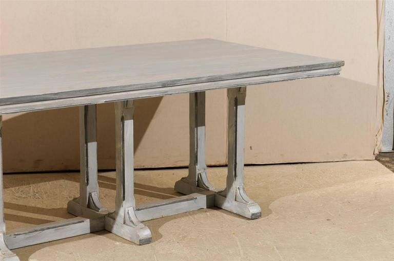 Large European Grey Painted Wood Rectangular Dining Table In Good Condition For Sale In Atlanta, GA