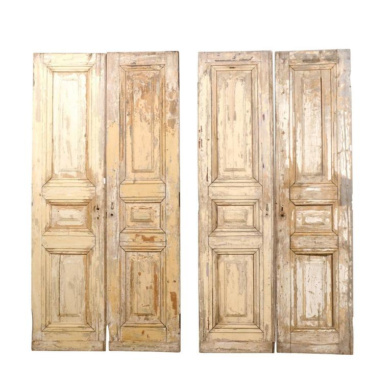 Set of two pairs of french 19th century wooden doors for White french doors for sale