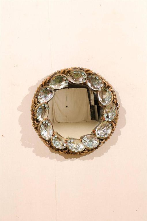 American Round Abalone Shell Mirror At 1stdibs