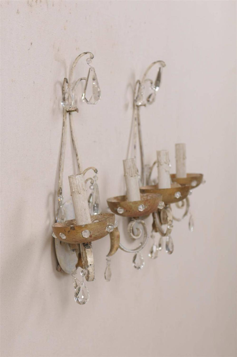 Pair of Painted Metal Two-Light Sconces with Crystal Accents For Sale at 1stdibs