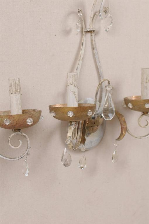 Wall Sconces With Crystal Accents : A Pair of Lovely Painted Metal Two-Light Sconces with Crystal Accents For Sale at 1stdibs