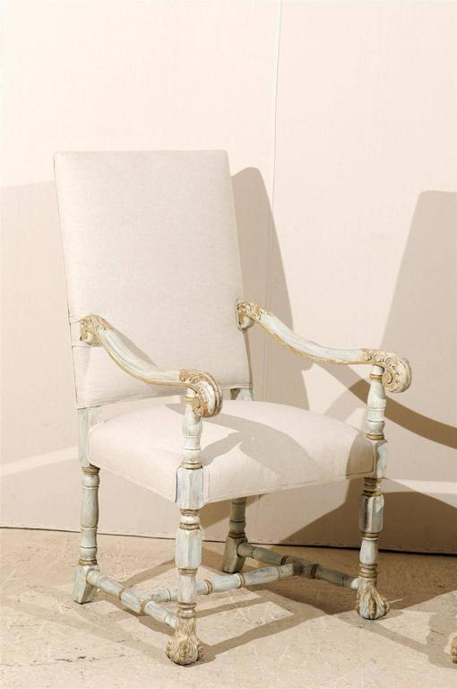 A Pair of French Louis XIV Style Armchairs / Fauteuils, Light Grey Painted Wood 3