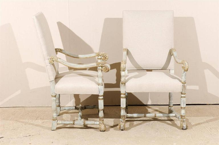 A Pair of French Louis XIV Style Armchairs / Fauteuils, Light Grey Painted Wood 6