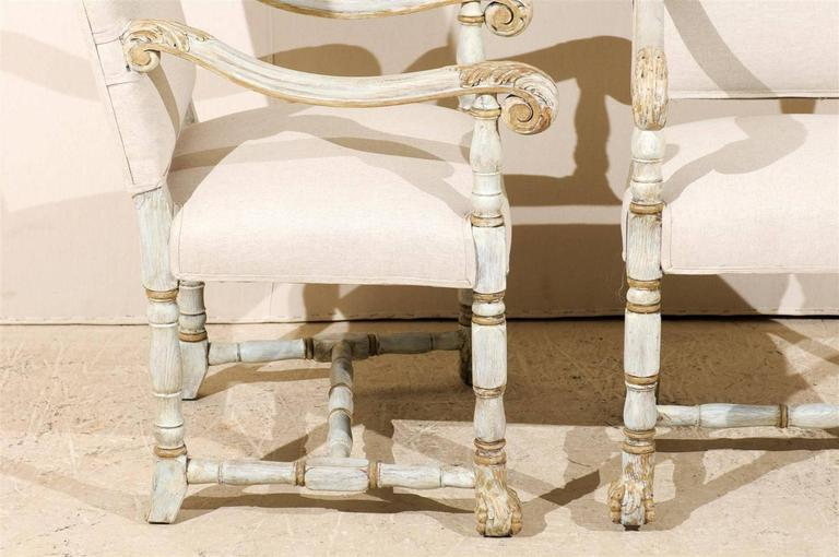 A Pair of French Louis XIV Style Armchairs / Fauteuils, Light Grey Painted Wood For Sale 3