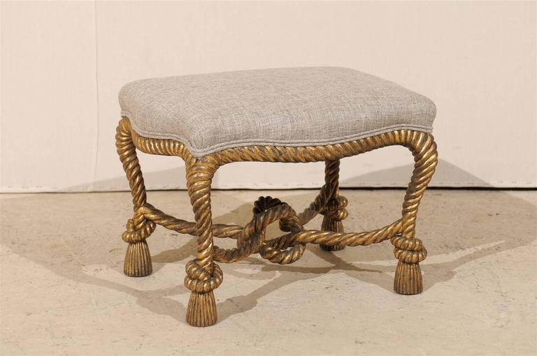 Super Italian Carved And Gilded Rope And Tassel Wooden Stool Bralicious Painted Fabric Chair Ideas Braliciousco