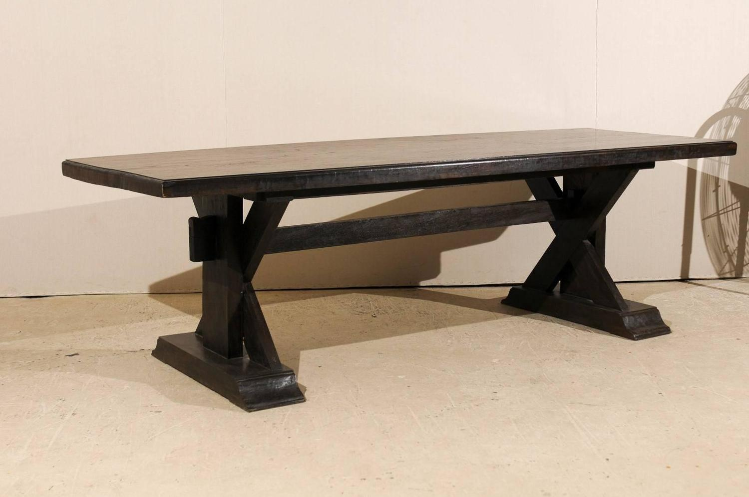 Teakwood trestle dining table with x frame for sale at 1stdibs for 5 foot dining room table
