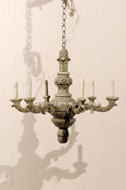 French six light painted and carved wood chandelier for sale at 1stdibs a french six light painted and carved wood chandelier from the mid 20th century aloadofball Images