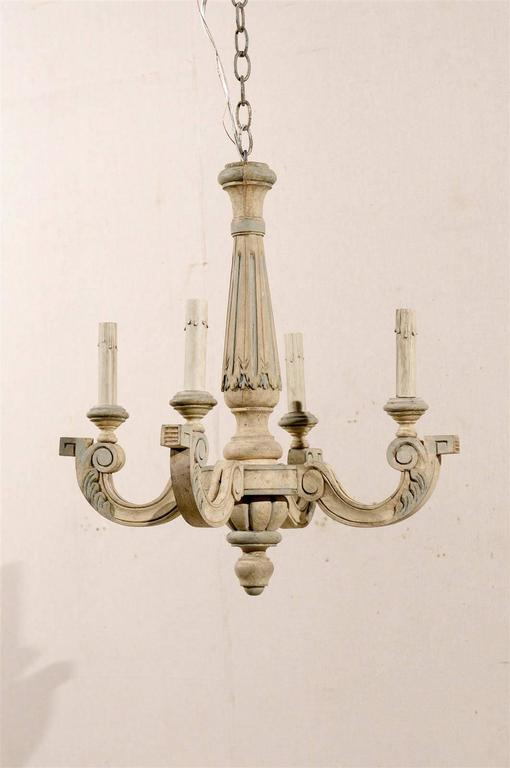 Carved French Four-Light Vintage Painted Wood Chandelier For Sale
