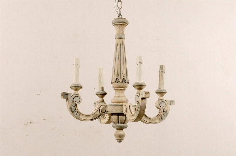 French Four-Light Vintage Painted Wood Chandelier In Good Condition For Sale In Atlanta, GA