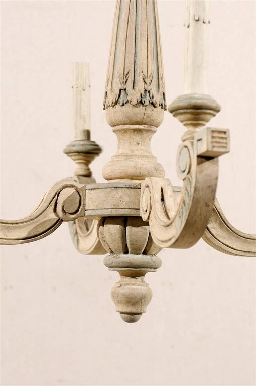 French Four-Light Vintage Painted Wood Chandelier For Sale 2