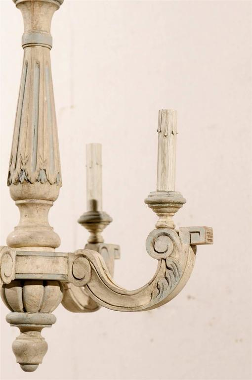 French Four-Light Vintage Painted Wood Chandelier For Sale 4
