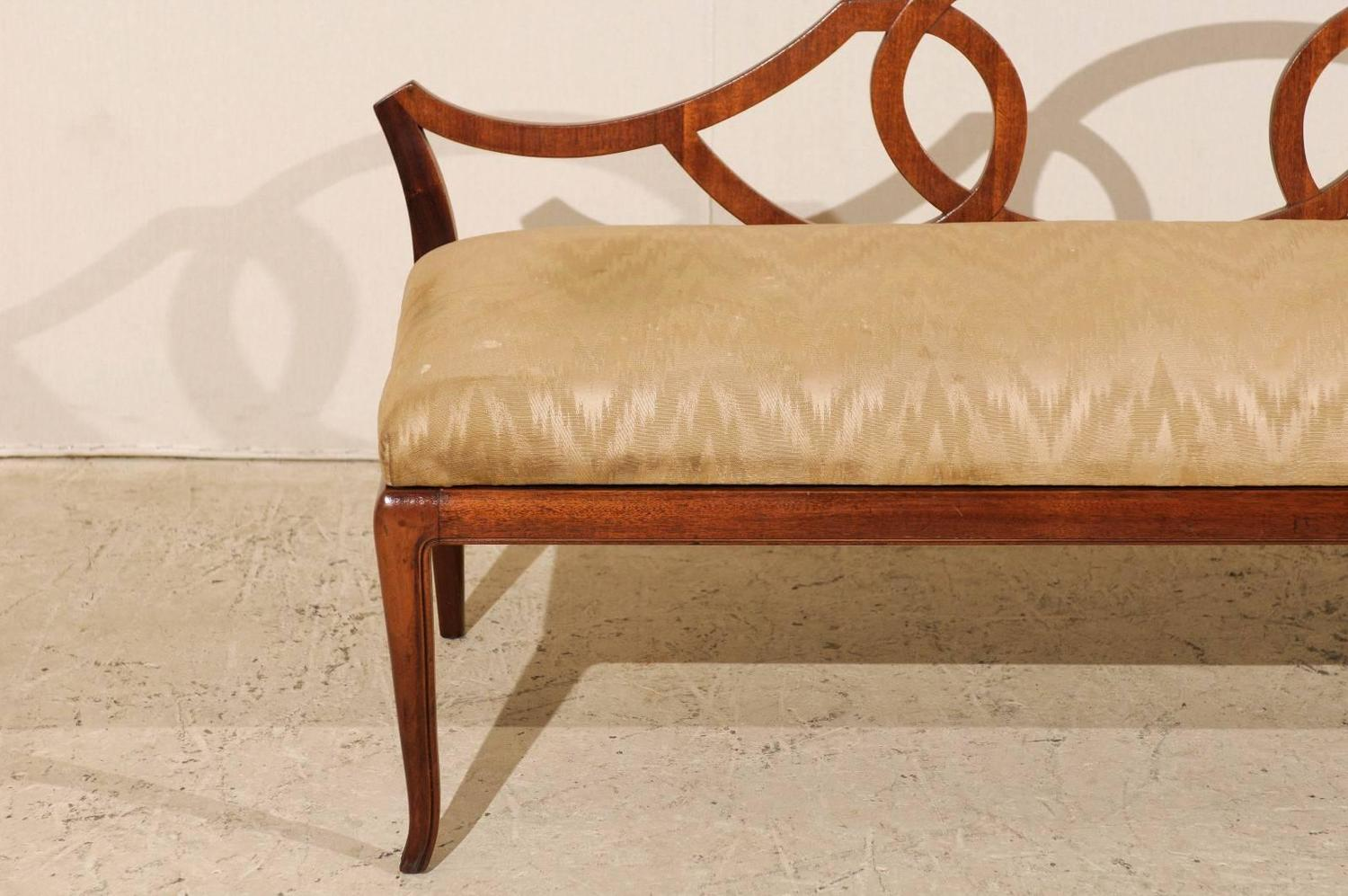 Italian Vintage Low Back Bench With Upholstered Seat At 1stdibs