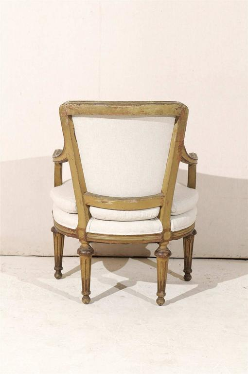 Single French Louis XVI Style Painted Wood Fauteuil with Rosettes on the Knees 4