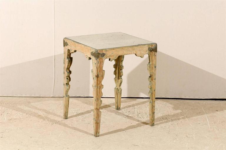 Swedish Aged Mirror Top Side Table With Carved Legs And Metal Corners 2
