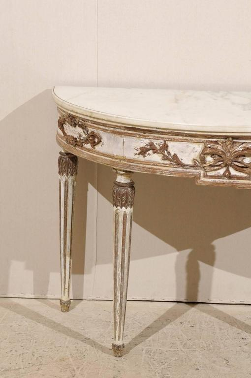 An italian demilune console table with marble top late 18th early 19th century for sale at 1stdibs White demilune console table