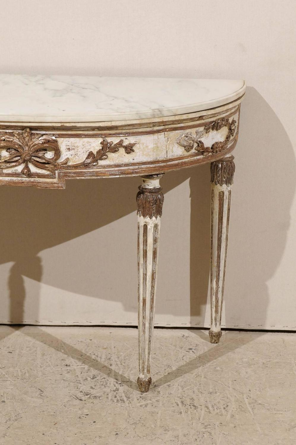 Italian demilune console table with marble top late 18th early 19th century for sale at 1stdibs White demilune console table