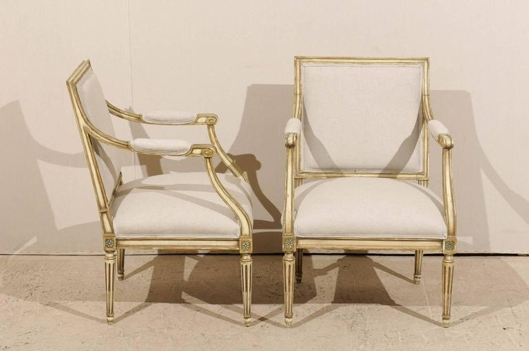 Pair of French, Louis XVI Style Armchairs with Rosettes and Tapered Legs 3