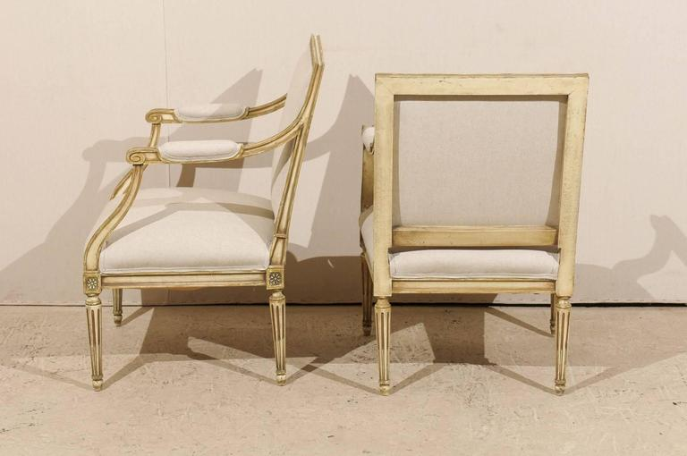 Pair of French, Louis XVI Style Armchairs with Rosettes and Tapered Legs 6