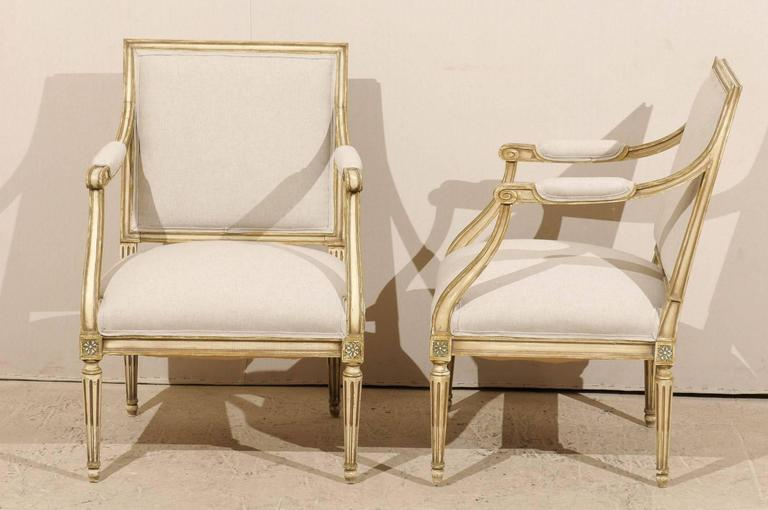 Pair of French, Louis XVI Style Armchairs with Rosettes and Tapered Legs 8