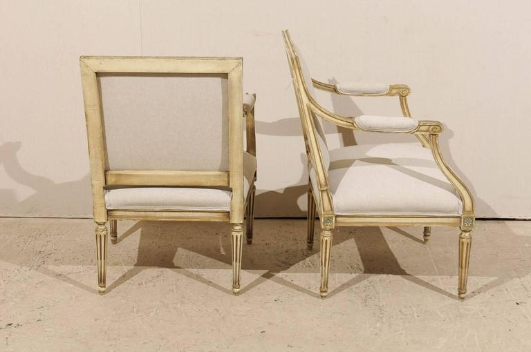Pair of French, Louis XVI Style Armchairs with Rosettes and Tapered Legs 7