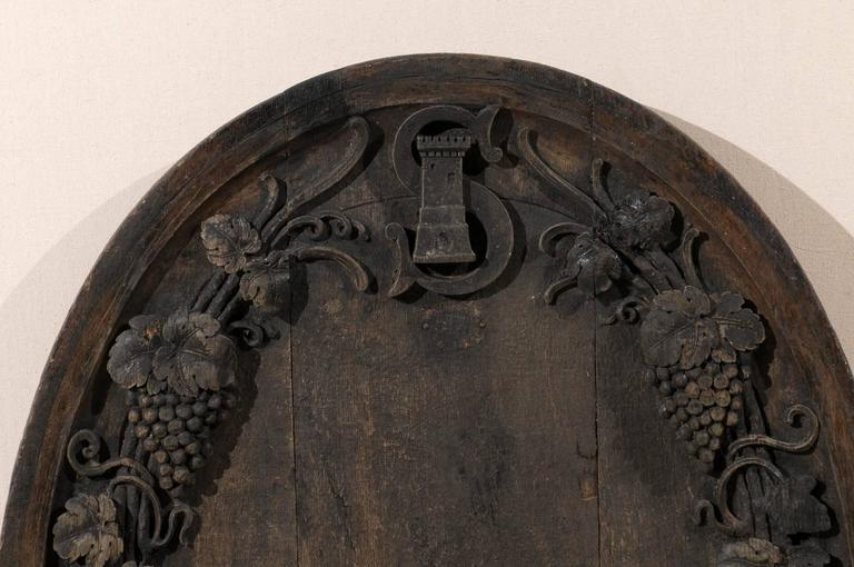 A French 19th Century Hand-Carved Wooden Wine Cellar Plaque with Grape Vines In Good Condition For Sale In Atlanta, GA