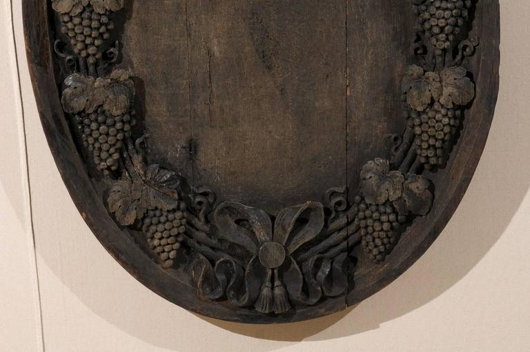 A French 19th Century Hand-Carved Wooden Wine Cellar Plaque with Grape Vines For Sale 1