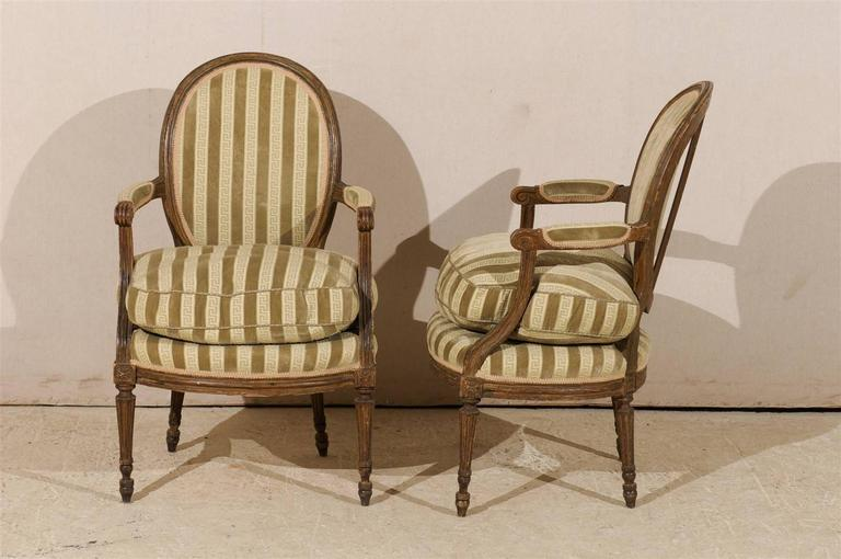 Pair of French 19th Century Louis XVI Style Bergères Oval Back Chairs 4