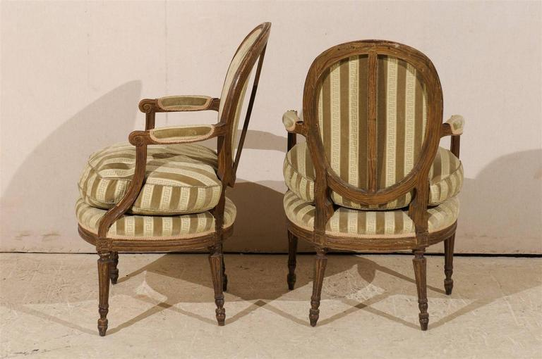 Pair of French 19th Century Louis XVI Style Bergères Oval Back Chairs 5