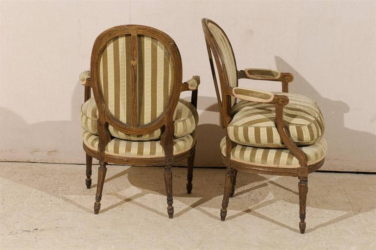 Pair of French 19th Century Louis XVI Style Bergères Oval Back Chairs 6
