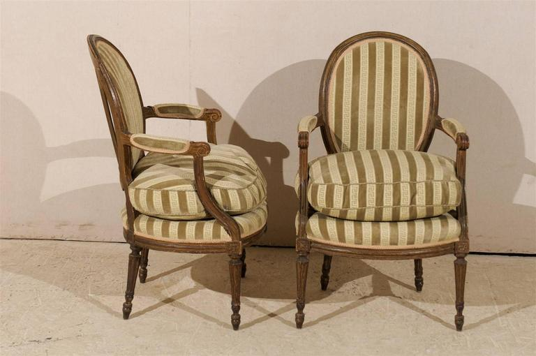 Pair of French 19th Century Louis XVI Style Bergères Oval Back Chairs 3