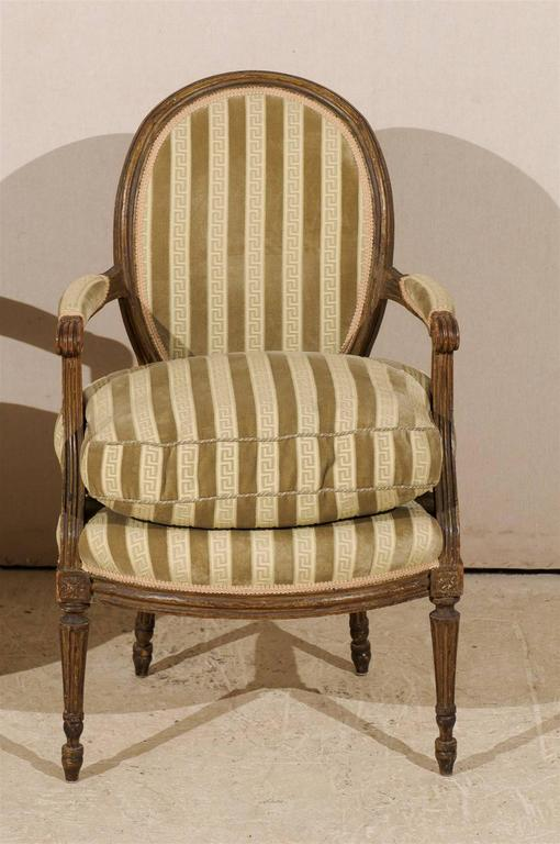 Pair of French 19th Century Louis XVI Style Bergères Oval Back Chairs 7