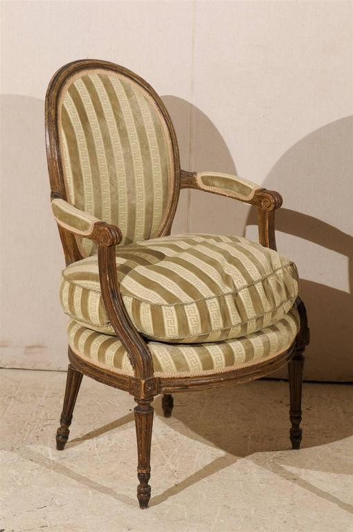 Pair of French 19th Century Louis XVI Style Bergères Oval Back Chairs 8